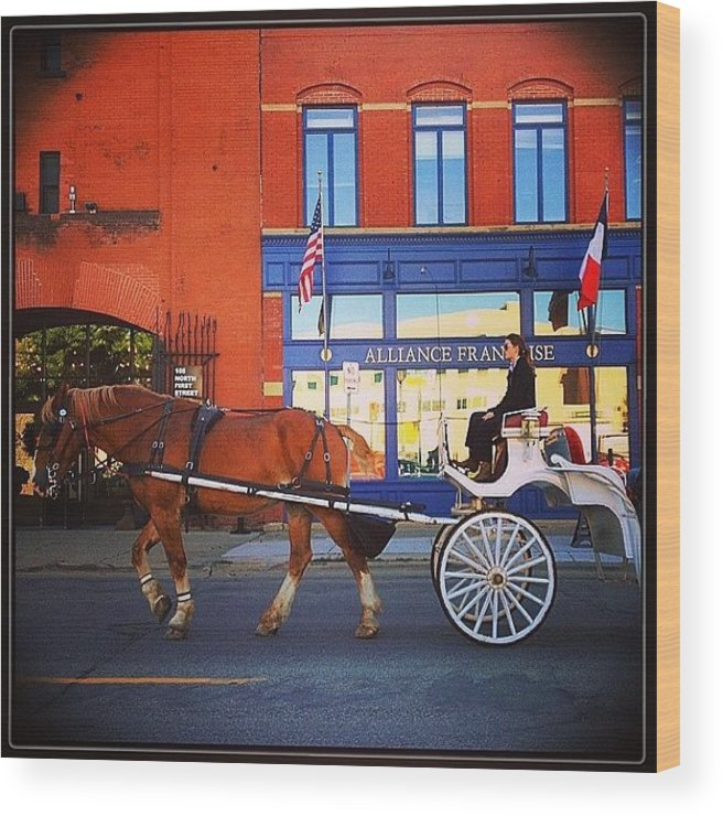 Northloop Wood Print featuring the photograph Fiacre (hansom Cab). #minneapolis by Heidi Hermes
