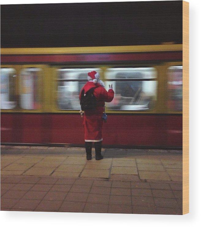 Passenger Train Wood Print featuring the photograph Full Length Rear View Of Man In Santa by Monika Kanokova / Eyeem