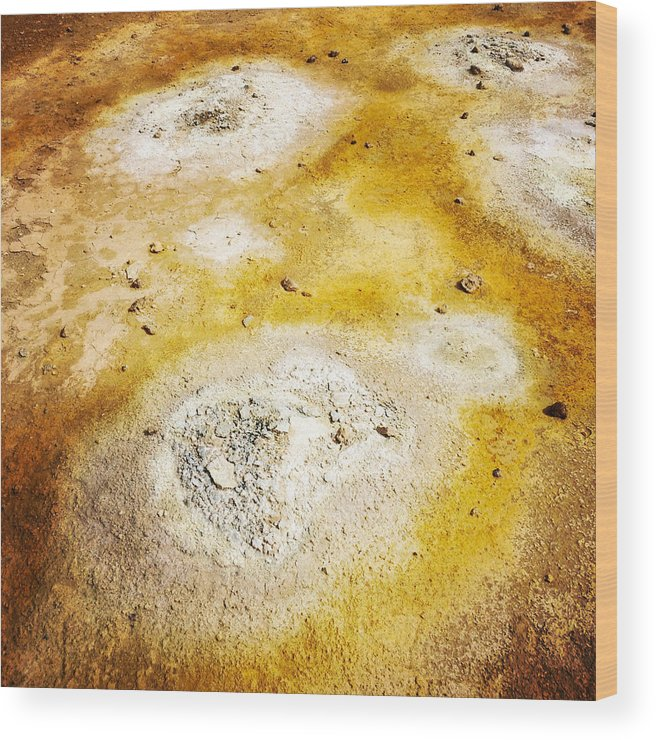 Abstract Wood Print featuring the photograph Geothermal area detail Iceland by Matthias Hauser