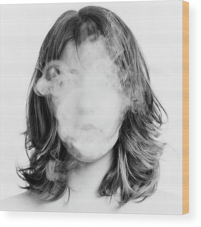 People Wood Print featuring the photograph Girl Smoking by Lita Bosch
