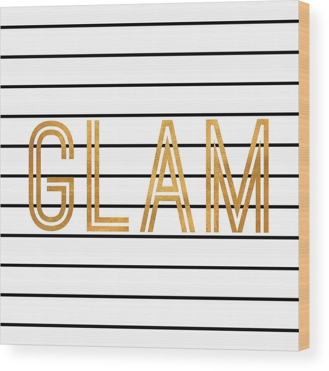 Glam Wood Print featuring the digital art Glam Pinstripe Gold by South Social Studio