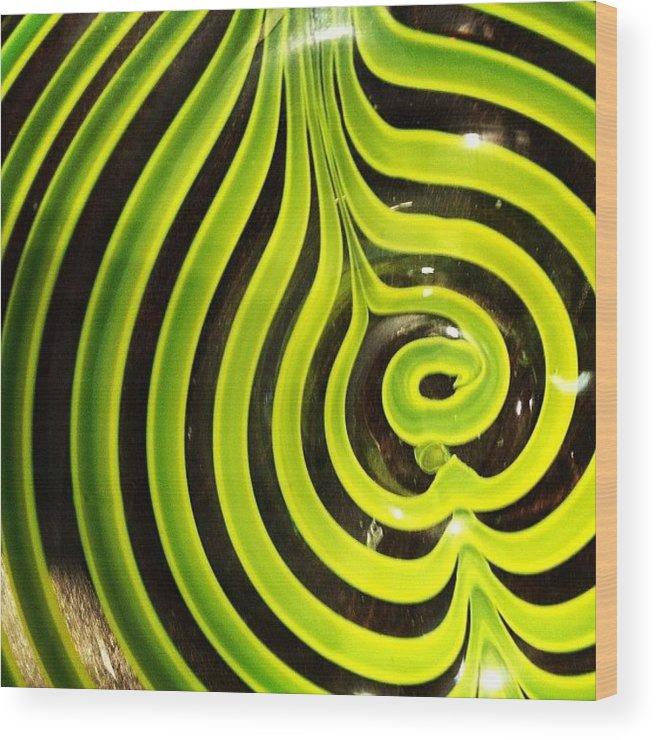 Random Wood Print featuring the photograph #glass #neon #black #yellow #bowel by Amber Campanaro