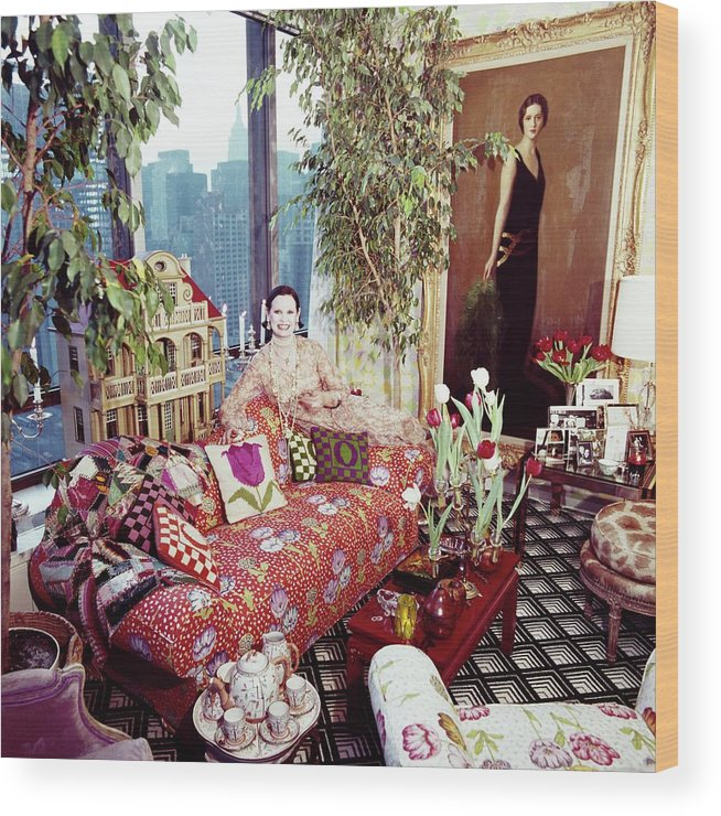 Indoors Wood Print featuring the photograph Gloria Vanderbilt In Her Living Room by Horst P. Horst