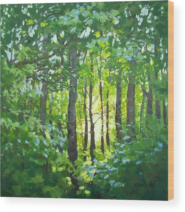 Landscape Wood Print featuring the painting Glow by Karen Ilari