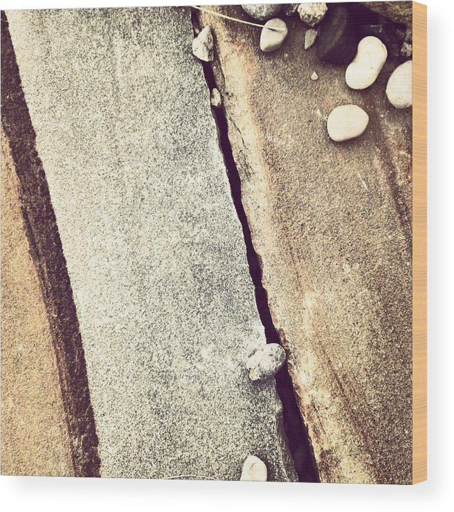 Grey Wood Print featuring the photograph Grey Stone Abstract by Christy Beckwith