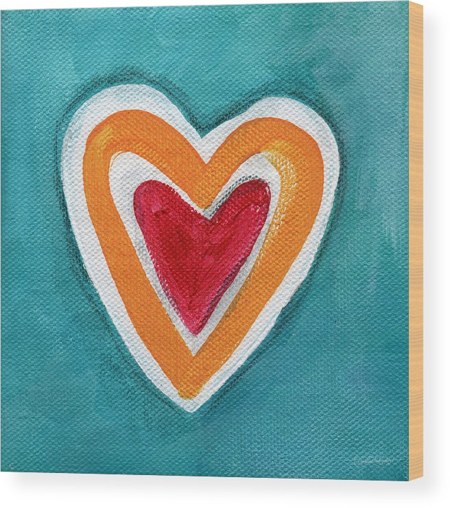 Love Wood Print featuring the painting Happy Love by Linda Woods