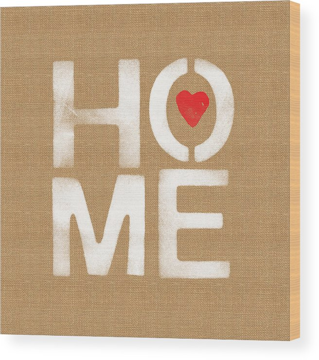 Home Wood Print featuring the painting Heart and Home by Linda Woods