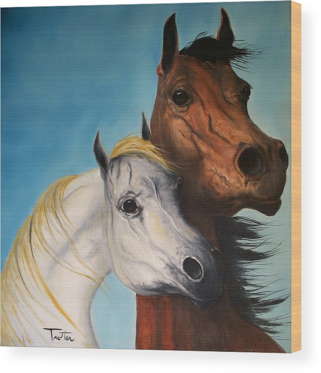 Horse Wood Print featuring the painting Horse Lovers by Patrick Trotter