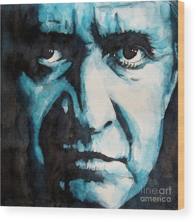 Johnny Cash Wood Print featuring the painting Hurt by Paul Lovering