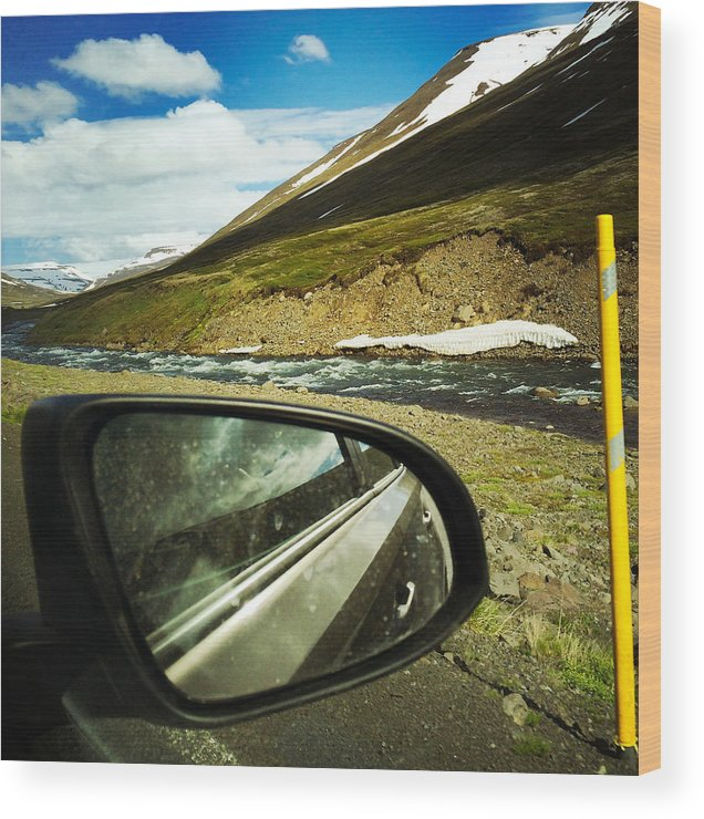Iceland Wood Print featuring the photograph Iceland roadtrip - landscape and rear mirror of car by Matthias Hauser
