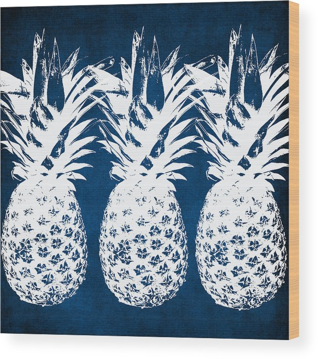 Indigo Wood Print featuring the painting Indigo and White Pineapples by Linda Woods
