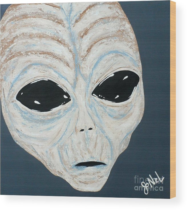 Alien Wood Print featuring the painting Intruder by JoNeL Art