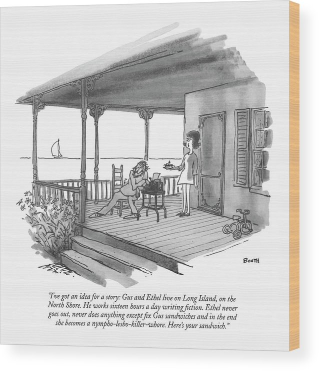 Marriage Wood Print featuring the drawing I've Got An Idea For A Story: Gus And Ethel Live by George Booth