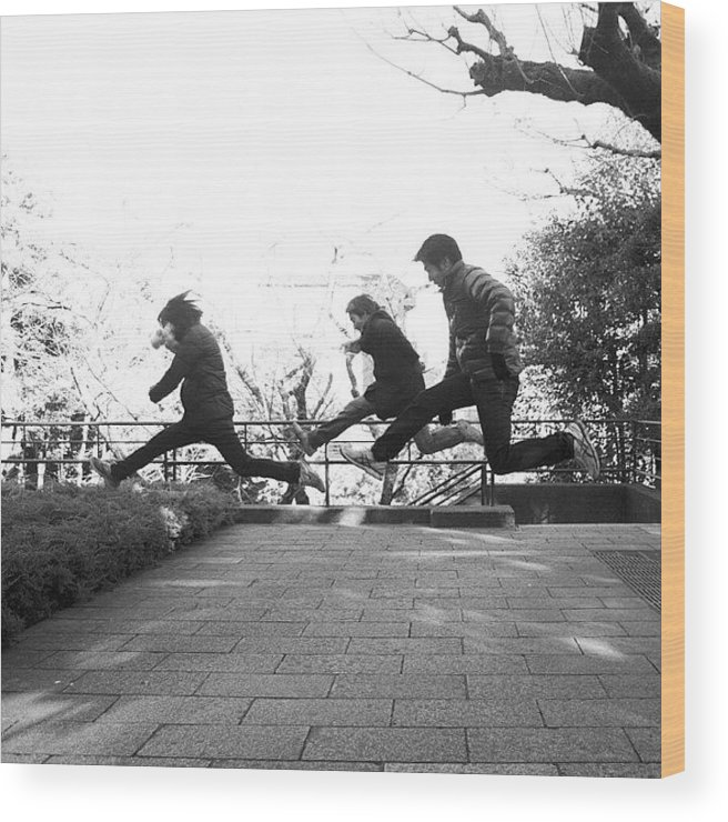 Photograph Wood Print featuring the photograph #japan #jump #people#newyear by Tokyo Sanpopo