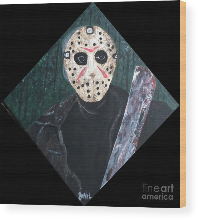 Horror Wood Print featuring the painting Jason Voorhees by JoNeL Art