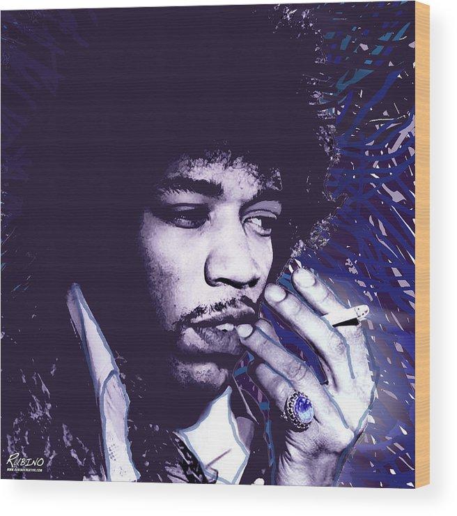 James Marshall Wood Print featuring the photograph Jimi Hendrix Purple Haze by Tony Rubino