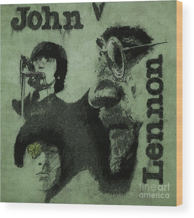 John Lennon Wood Print featuring the drawing John Lennon by Drawspots Illustrations