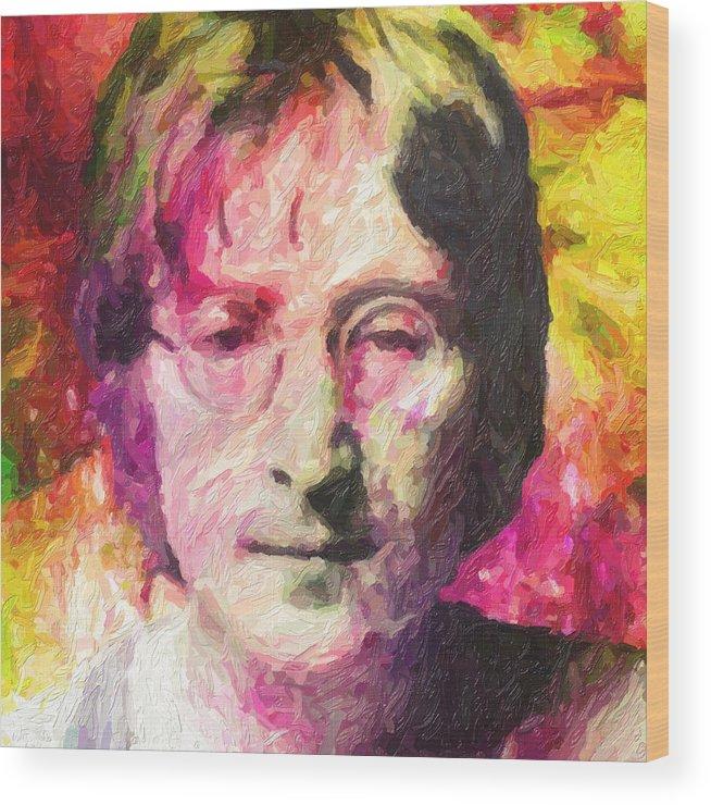 John Lennon Wood Print featuring the painting John Lennon by Zapista OU