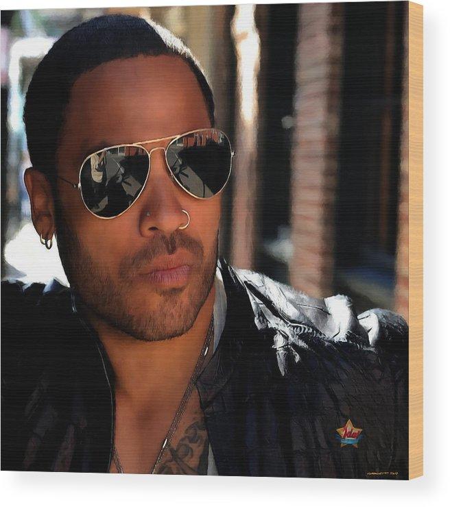 Lenny Kravitz Wood Print featuring the digital art Lenny Kravitz by Gabriel T Toro