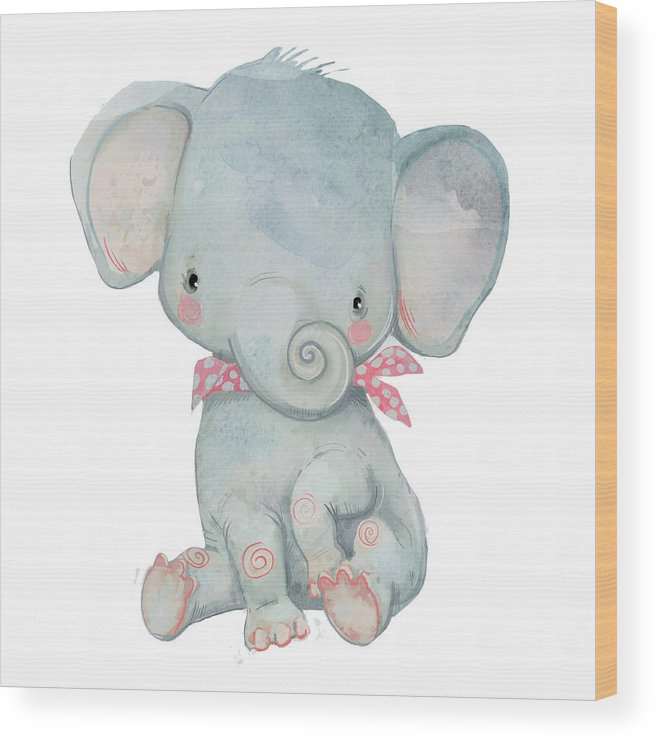 Watercolor Painting Wood Print featuring the digital art Little Pocket Elephant by Cofeee