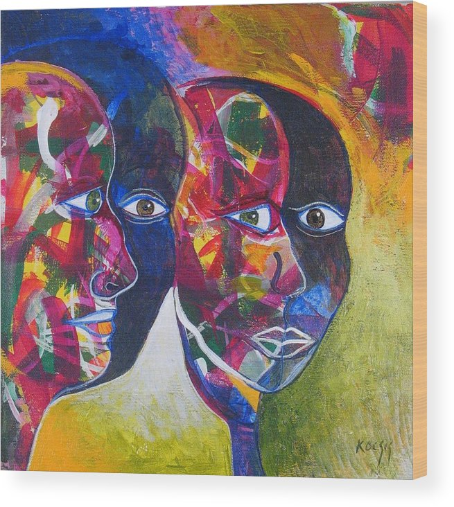 Faces Wood Print featuring the painting Living In The Shadows by Rollin Kocsis