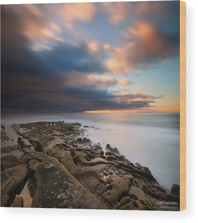 Wood Print featuring the photograph Long Exposure Sunset Of An Incoming by Larry Marshall
