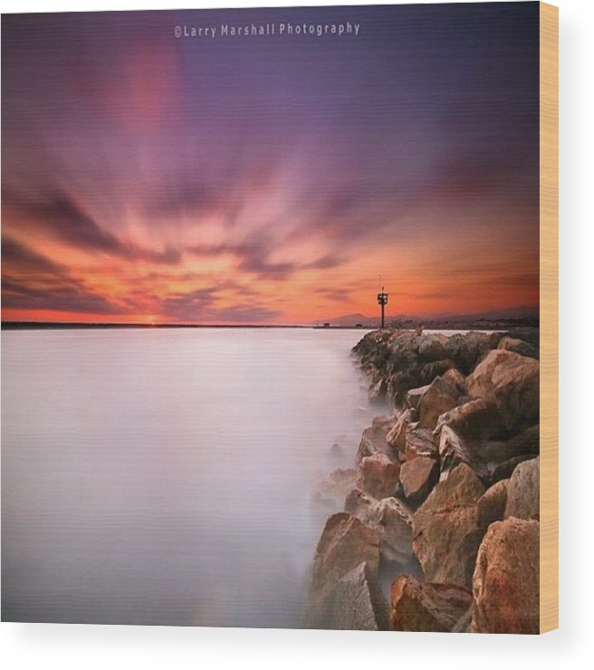 Wood Print featuring the photograph Long Exposure Sunset Shot At A Rock by Larry Marshall