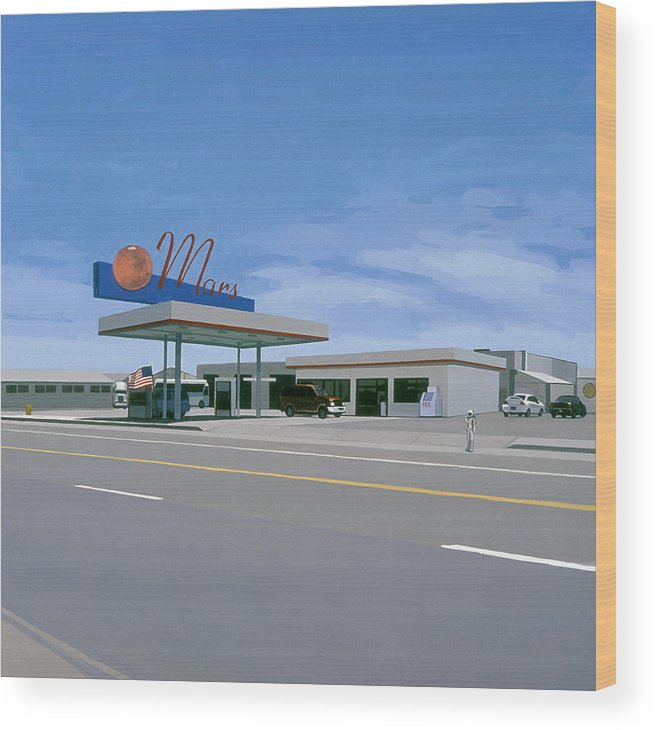 Astronaut Wood Print featuring the painting Mission to Mars by Scott Listfield