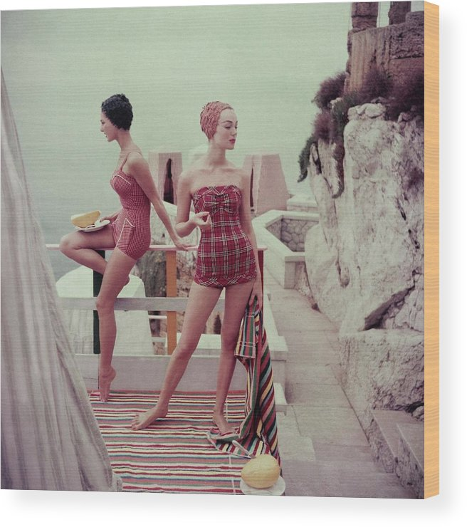 Fashion Wood Print featuring the photograph Models Wearing Bathing Suits In Palermo by Henry Clarke