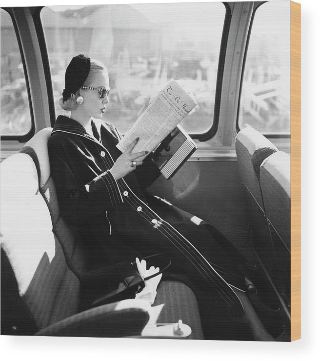 Personality Wood Print featuring the photograph Mrs. William McManus Reading On A Train by Leombruno-Bodi
