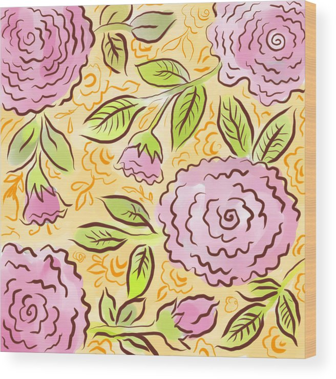 Pink Wood Print featuring the digital art Mums And Roses by Elaine Jackson