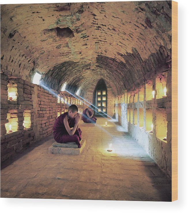 Arch Wood Print featuring the photograph Myanmar, Buddhist Monks Inside by Martin Puddy
