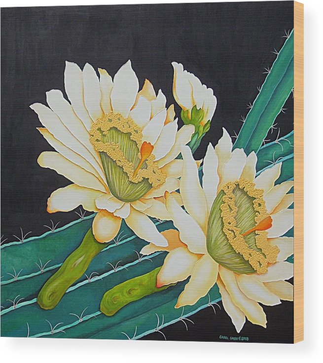 Cacti Wood Print featuring the painting Night Blooming Cactus by Carol Sabo