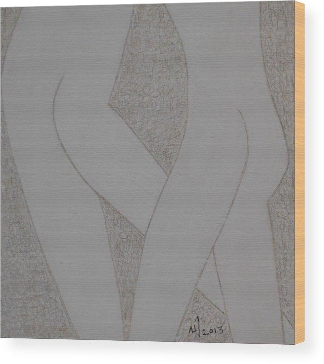 Human Figures Wood Print featuring the drawing No. 399 by Vijayan Kannampilly