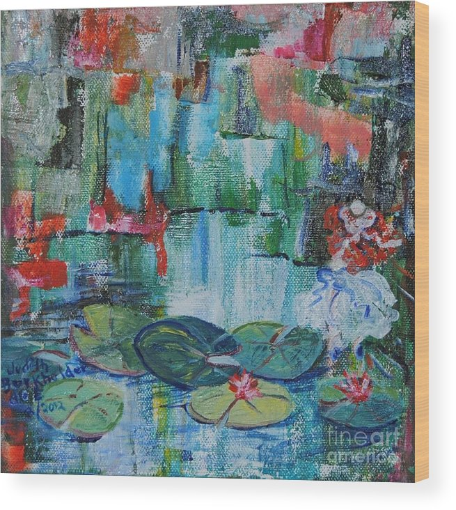 Pond Wood Print featuring the painting Nymph's Lily Pond- SOLD by Judith Espinoza