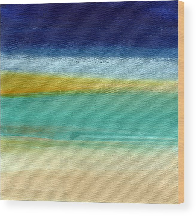 Abstract Wood Print featuring the painting Ocean Blue 3- Art by Linda Woods by Linda Woods