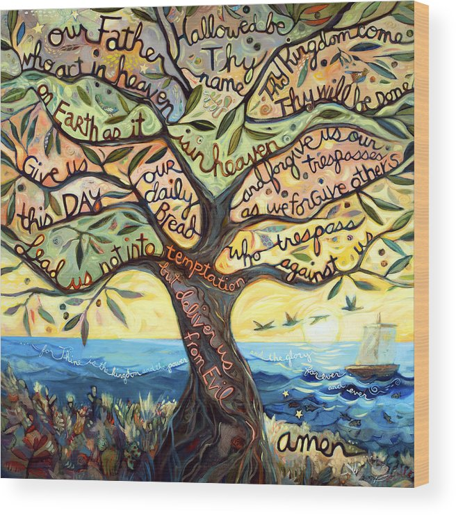 Jen Norton Wood Print featuring the painting Our Father by Jen Norton