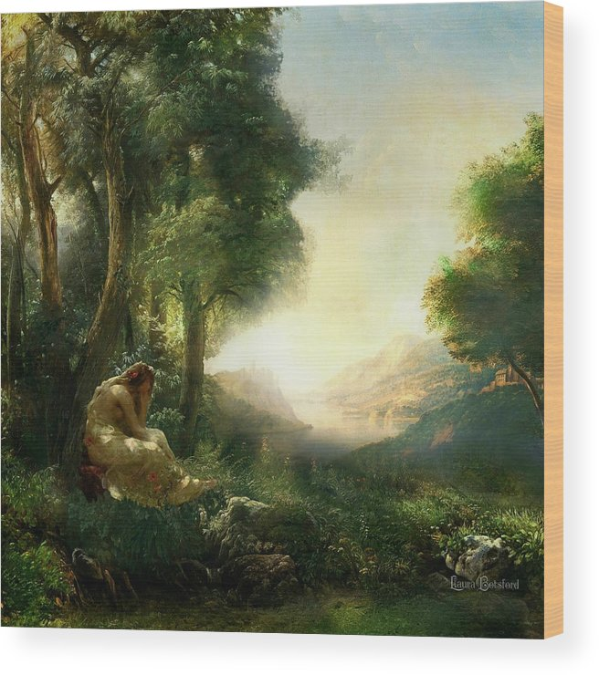 Woman Wood Print featuring the painting Pastoral Meditation by Laura Botsford