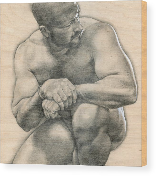 Male Wood Print featuring the drawing Penumbra 4 by Chris Lopez