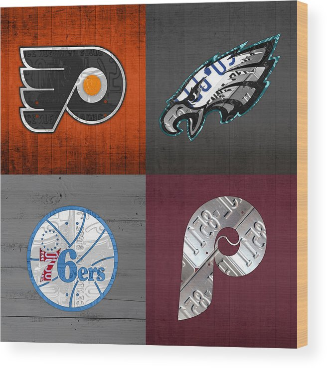 Philadelphia Wood Print featuring the mixed media Philadelphia Sports Fan Recycled Vintage Pennsylvania License Plate Art Flyers Eagles 76ers Phillies by Design Turnpike