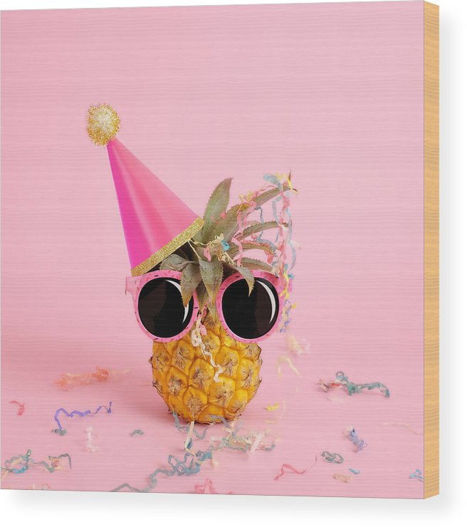 Celebration Wood Print featuring the photograph Pineapple Wearing A Party Hat And by Juj Winn