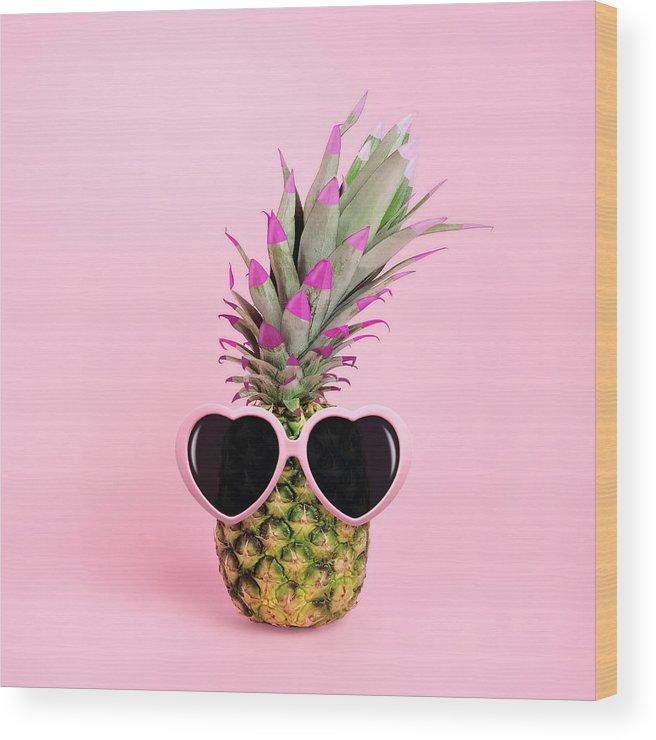 Food Wood Print featuring the photograph Pineapple Wearing Sunglasses by Juj Winn