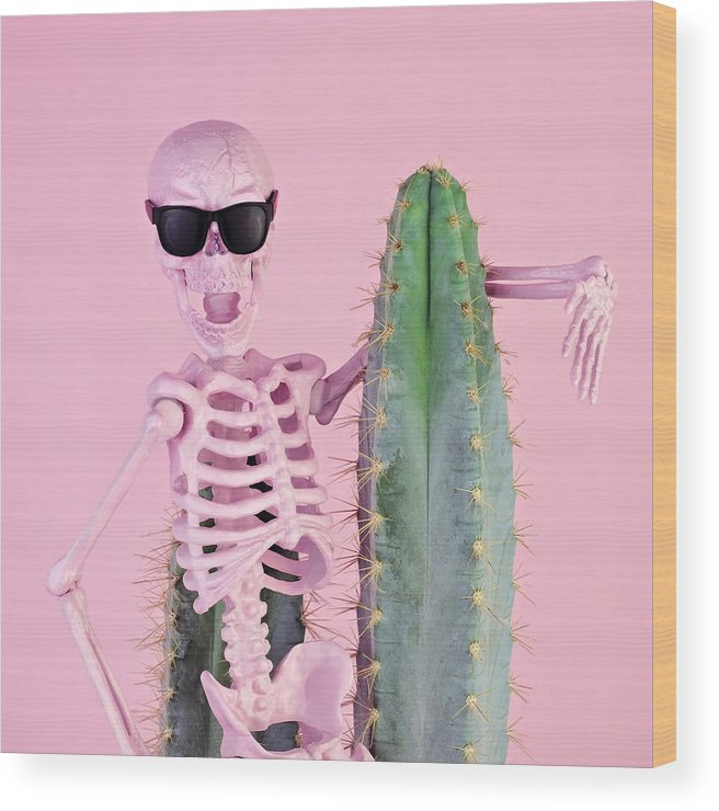 Cool Attitude Wood Print featuring the photograph Pink Skeleton With Cactus by Juj Winn