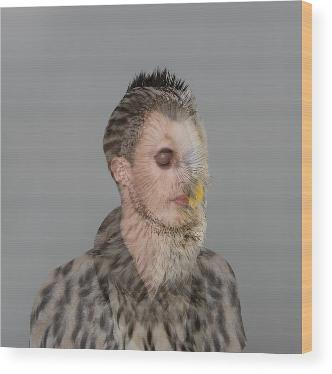 People Wood Print featuring the photograph Portrait Of Young Man With Owl Overlay by Nisian Hughes