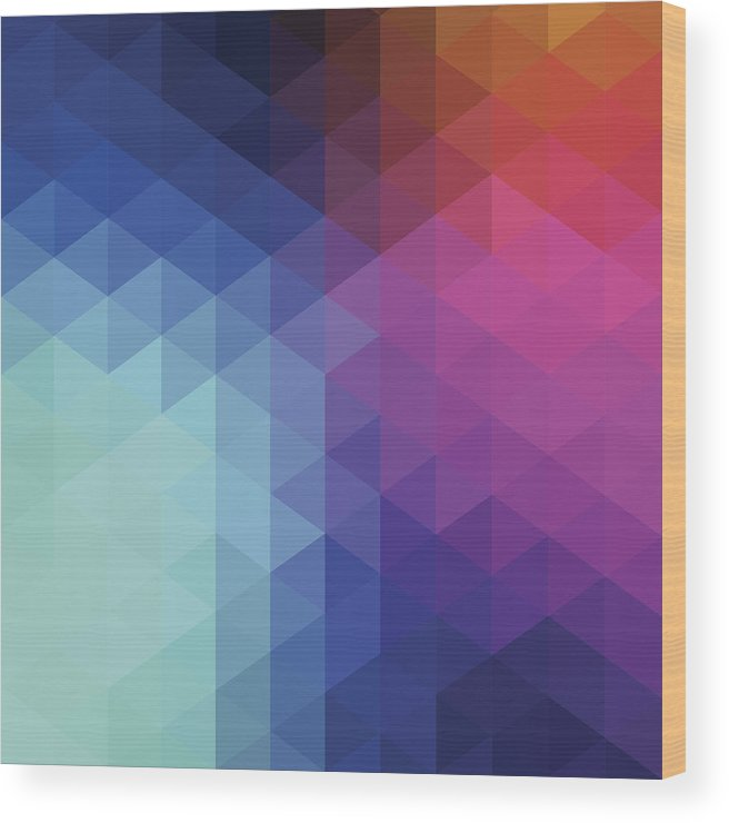 Triangle Shape Wood Print featuring the digital art Retro Hexagon Abstract Background by Mustafahacalaki