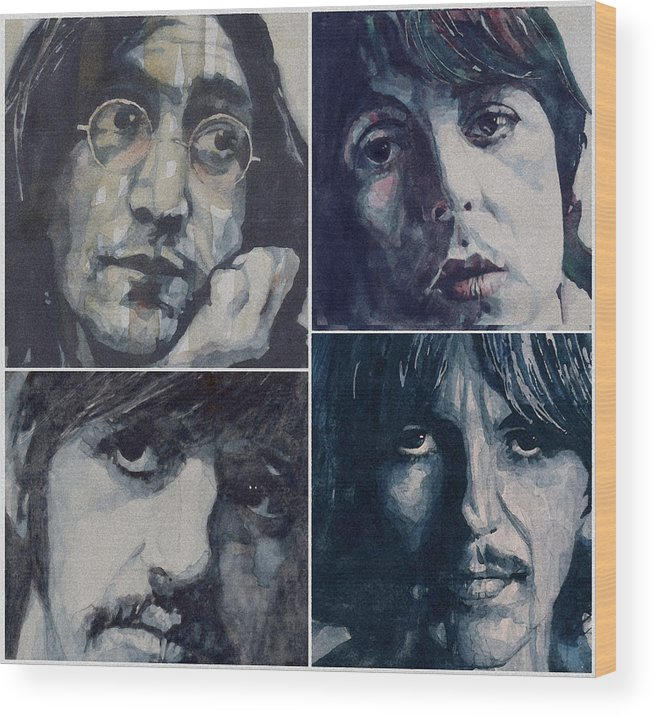 The Beatles Wood Print featuring the painting Reunion by Paul Lovering