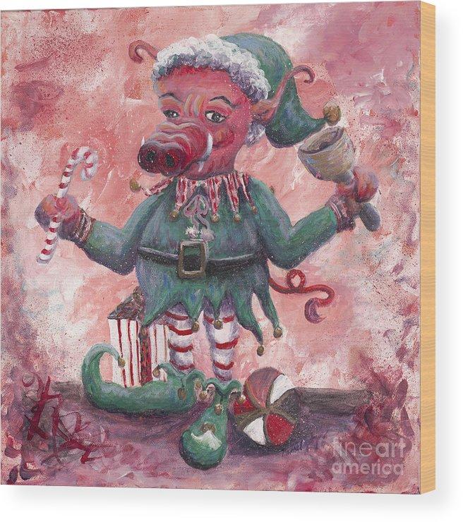 Elf Wood Print featuring the painting Santa's Littlest Elf Hog by Nadine Rippelmeyer