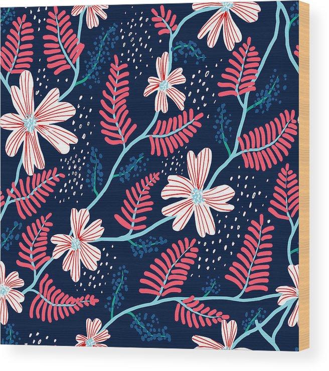 Flowerbed Wood Print featuring the digital art Seamless Floral Pattern by Flovie