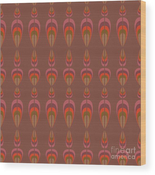 Upholstery Wood Print featuring the digital art Seamless Geometric Vintage Wallpaper by Leszek Glasner