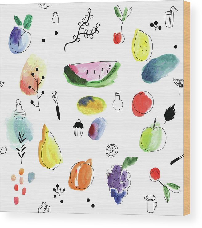 Cherry Wood Print featuring the digital art Seamless Pattern With Fruits, Berries by Loliputa